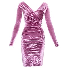 Gianni Versace pink velvet ruched figure hugging evening dress, fw 1995