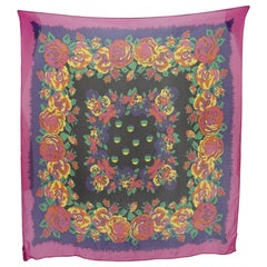 Gianni Versace Pink Yellow Black Silk Scarf Floral 1980s
