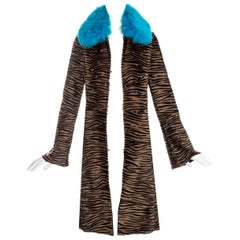 Gianni Versace pony hair embroidered coat with blue fox fur collar, fw 1999