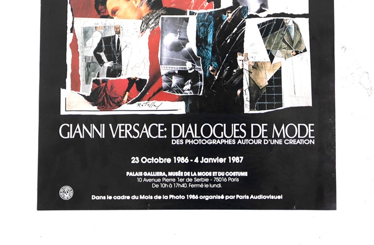 Italian GIANNI VERSACE Poster created by Mimmo Rotella for Mostra Dialogue du Mode, 1987 For Sale