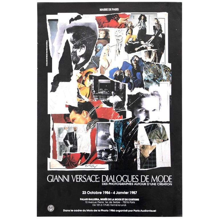 GIANNI VERSACE Poster created by Mimmo Rotella for Mostra Dialogue du Mode, 1987 For Sale