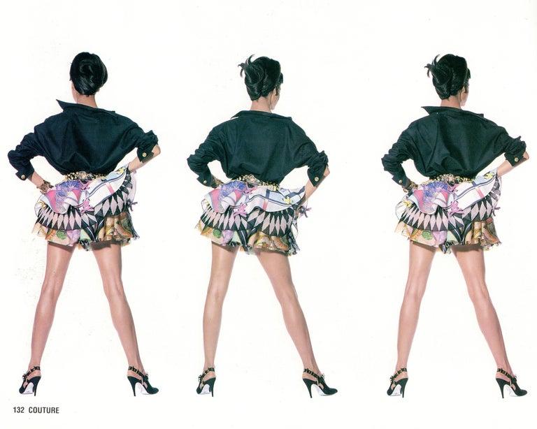 Beige Gianni Versace printed silk organza peplum evening skirt, ss 1992 For Sale