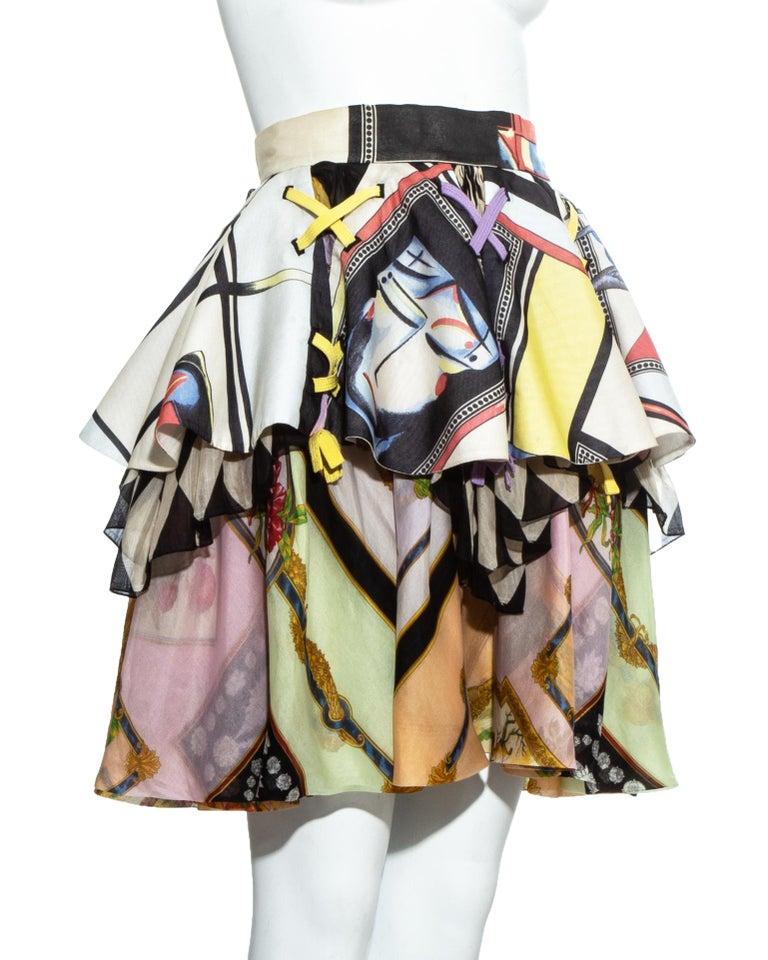 Women's Gianni Versace printed silk organza peplum evening skirt, ss 1992 For Sale