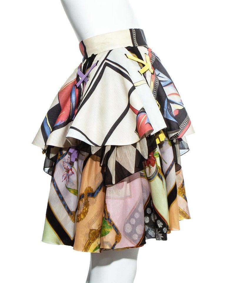 Gianni Versace printed silk organza peplum evening skirt, ss 1992 For Sale 1