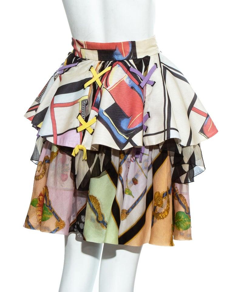 Gianni Versace printed silk organza peplum evening skirt, ss 1992 For Sale 2