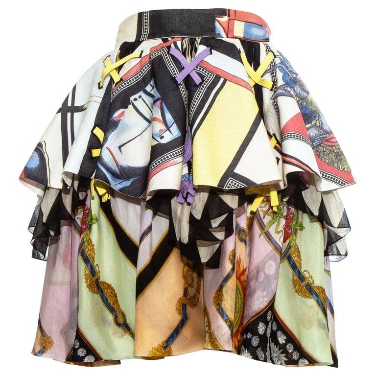 Gianni Versace printed silk organza peplum evening skirt, ss 1992 For Sale