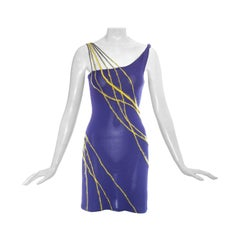 Gianni Versace purple viscose and mohair rayon knitted mini dress, ss 1998