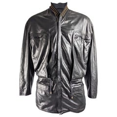 Gianni Versace Rare Mens Leather Jacket, A/W 1986