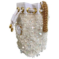 Gianni Versace Rare Vintage Sequined and Beaded Drawstring Mini Bucket Bag