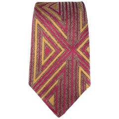 GIANNI VERSACE Raspberry & Gold Geometric Print Silk Tie