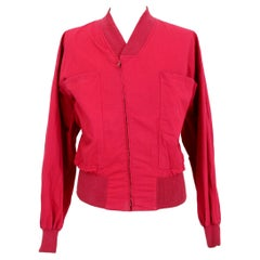 Gianni Versace Red Cotton Short Bomber Jacket