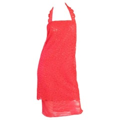 Gianni Versace Red Lace Halter Dress, 1990s