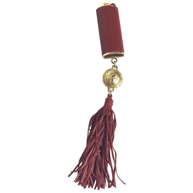 Gianni Versace Red Leather Lighter Holder with Tassel For Sale