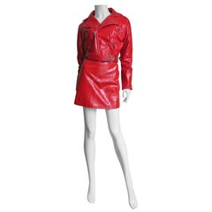 Gianni Versace Red Leather Motorcycle Jacket and Skirt 1990s