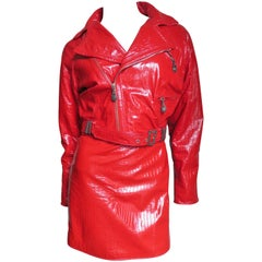 Gianni Versace Red Leather Motorcycle Jacket and Skirt A/W 1994