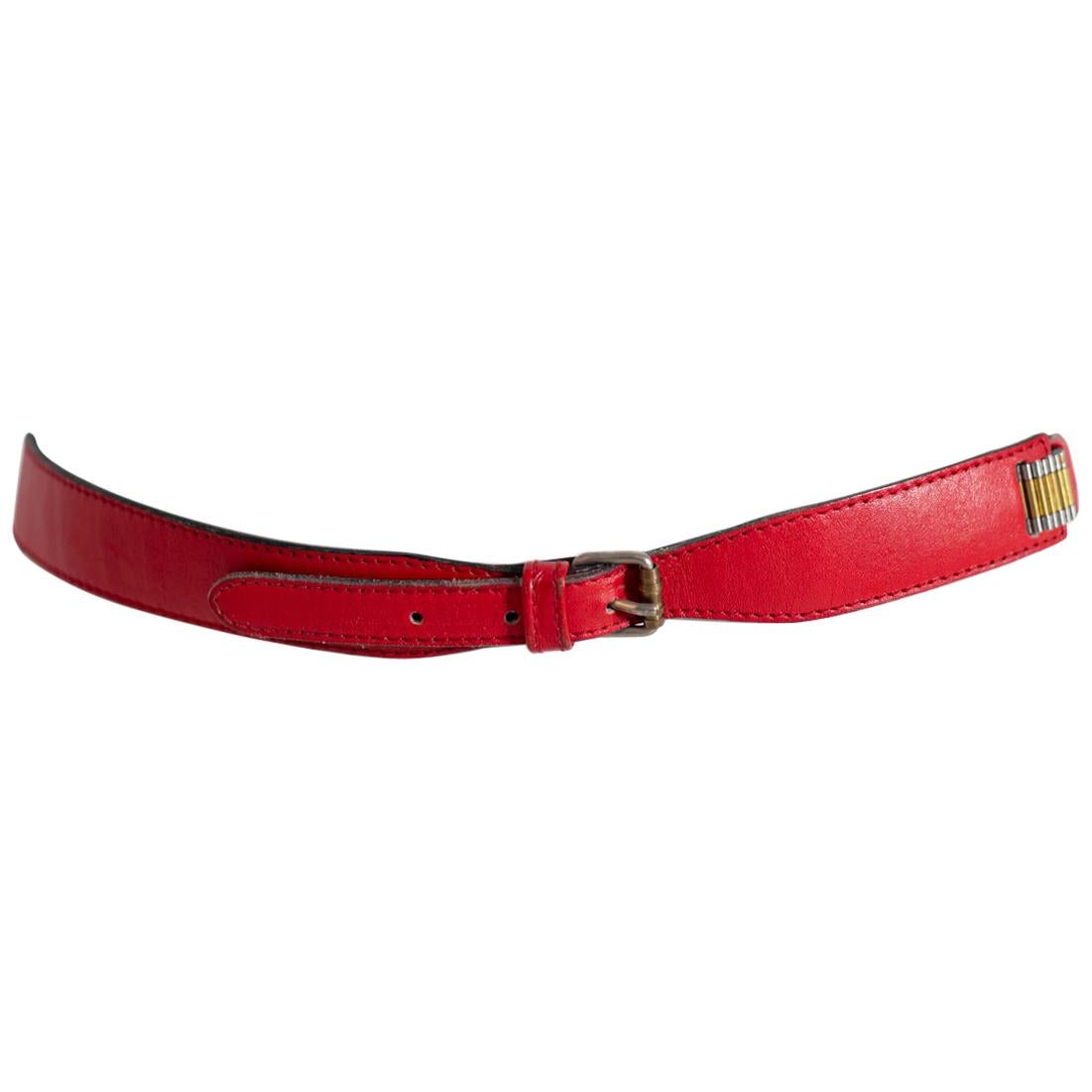 Gianni Versace Red Leather Women's Belt with Metal Details