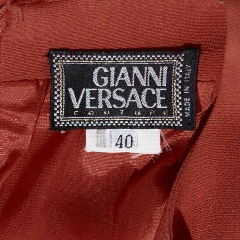 GIANNI VERSACE red round neck sleevelses minimal back vent maxi gown dress IT40 For Sale 6