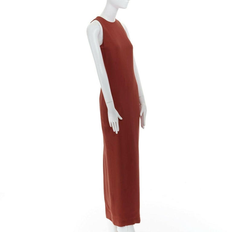 Women's GIANNI VERSACE red round neck sleevelses minimal back vent maxi gown dress IT40 For Sale