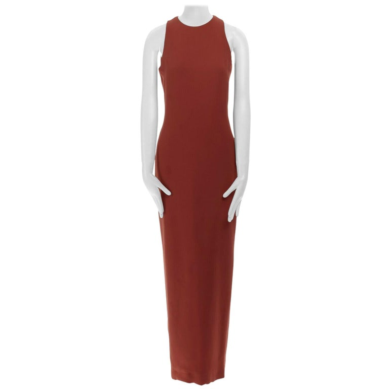 GIANNI VERSACE red round neck sleevelses minimal back vent maxi gown dress IT40 For Sale
