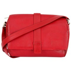 Gianni Versace Red Soft Leather Python Texture Effect Shoulder Bag
