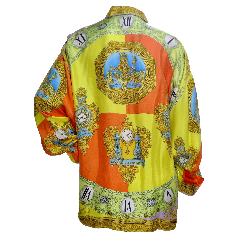 Gianni Versace Roman Clock Silk Shirt