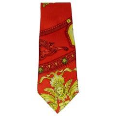 Gianni Versace Roman Clock Silk Tie