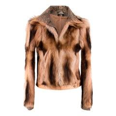 Gianni Versace Runway Pink Leather & Fox Fur Jacket
