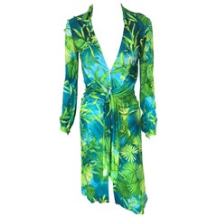 Gianni Versace Runway S/S 2000 Vintage Tropical Print Plunging Neckline Dress