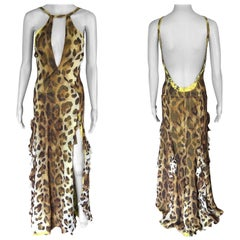 Gianni Versace Runway Vintage Plunged Backless Dress Gown