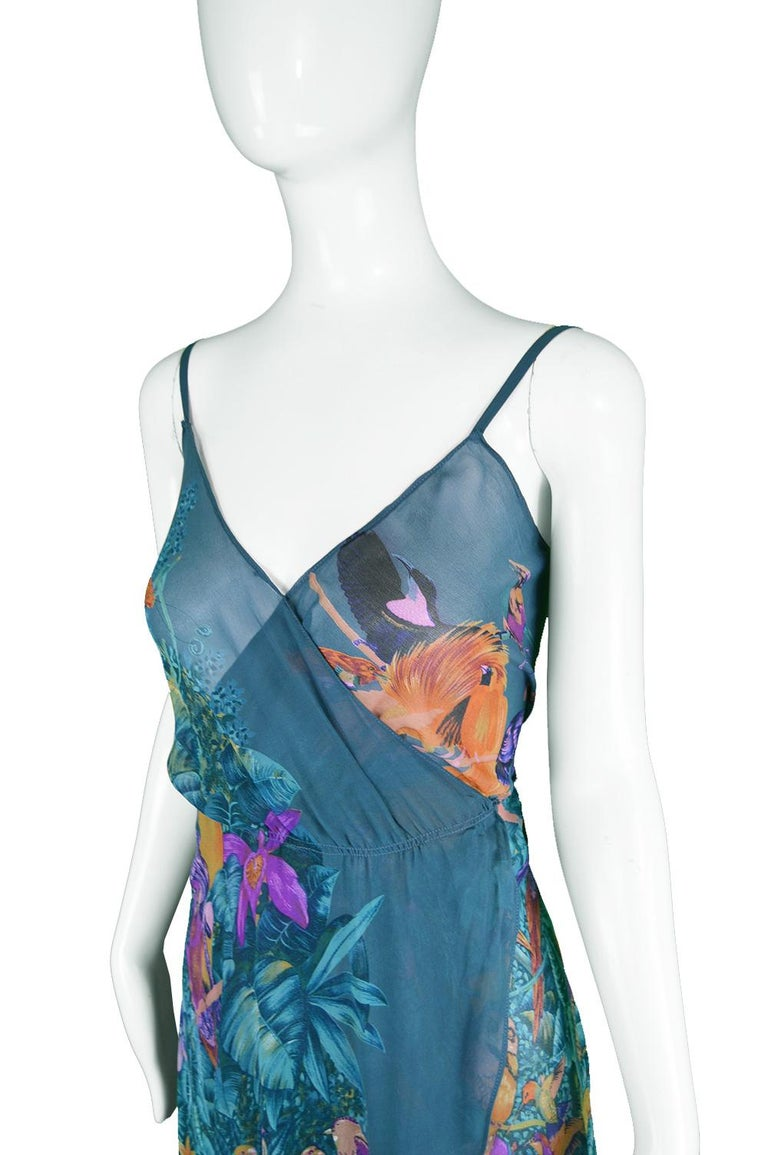 Blue Gianni Versace S/S 1979 Early Vintage Silk Chiffon Handkerchief Dress For Sale