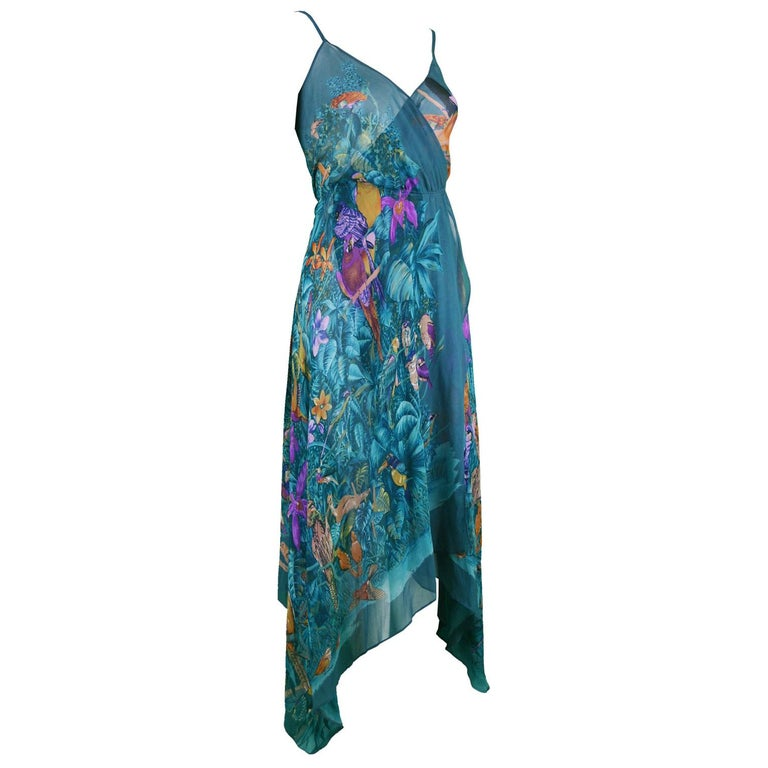 Gianni Versace S/S 1979 Early Vintage Silk Chiffon Handkerchief Dress For Sale