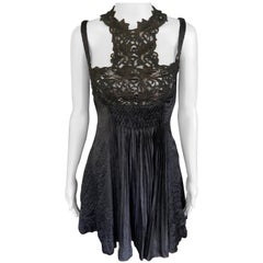 Gianni Versace S/S 1994 Runway Couture Vintage Crinkle Silk Lace Black Dress