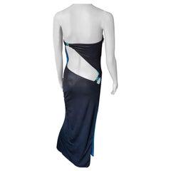 Gianni Versace S/S 1998 Runway Vintage Wet Liquid Look Cutout Evening Dress Gown