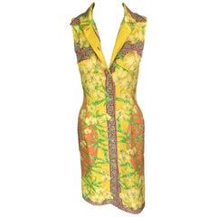 Gianni Versace S/S 2000 Bamboo Print Silk Dress