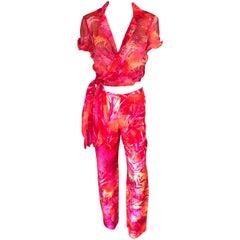 Gianni Versace S/S 2000 Runway Tropical Palm Print Pants & Blouse 2 Piece Set