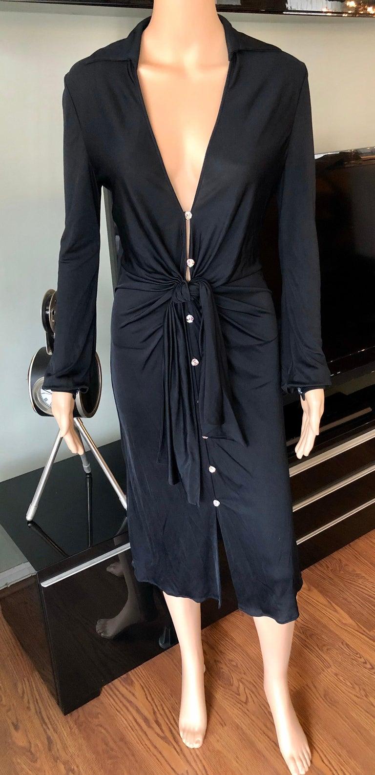 Women's Gianni Versace S/S 2000 Runway Vintage Plunging Neckline Black Dress  For Sale