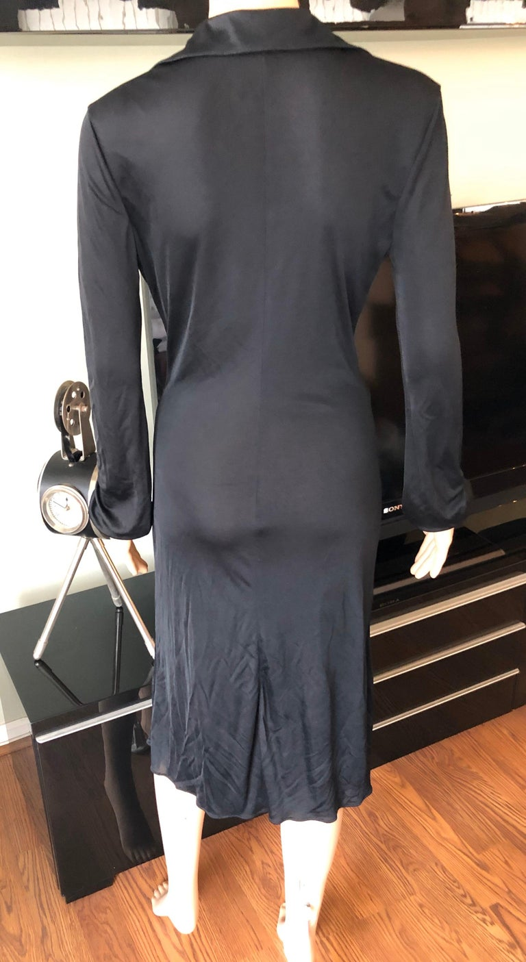 Gianni Versace S/S 2000 Runway Vintage Plunging Neckline Black Dress  For Sale 2