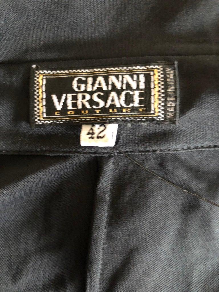 Gianni Versace S/S 2000 Runway Vintage Plunging Neckline Black Dress  For Sale 3