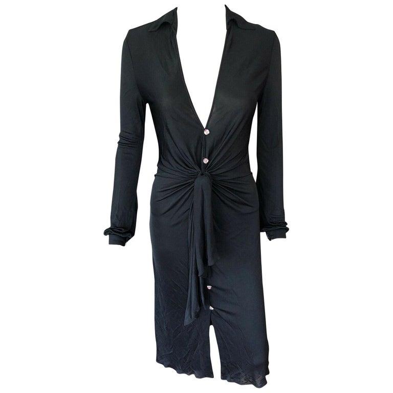 Gianni Versace S/S 2000 Runway Vintage Plunging Neckline Black Dress  For Sale