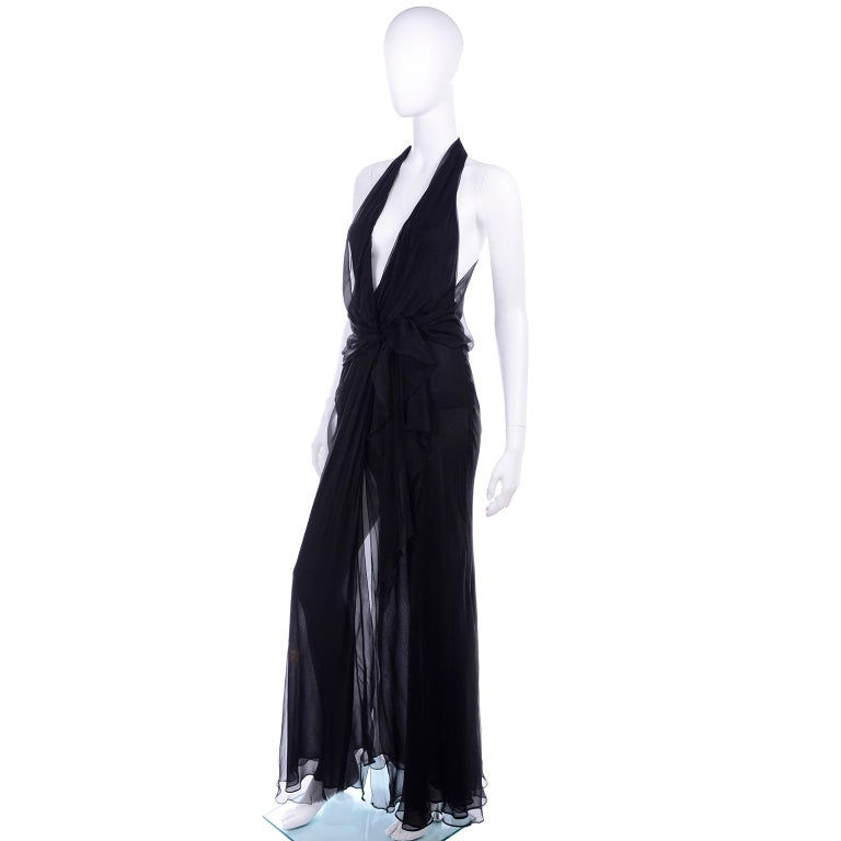 Gianni Versace Sheer Black Silk Chiffon Vintage Dress w High Slit & Low Neckline In Excellent Condition For Sale In Portland, OR