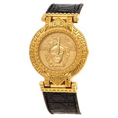 Gianni Versace Signature Medusa Gold Plated Leather Women's Wristwatch 30MM