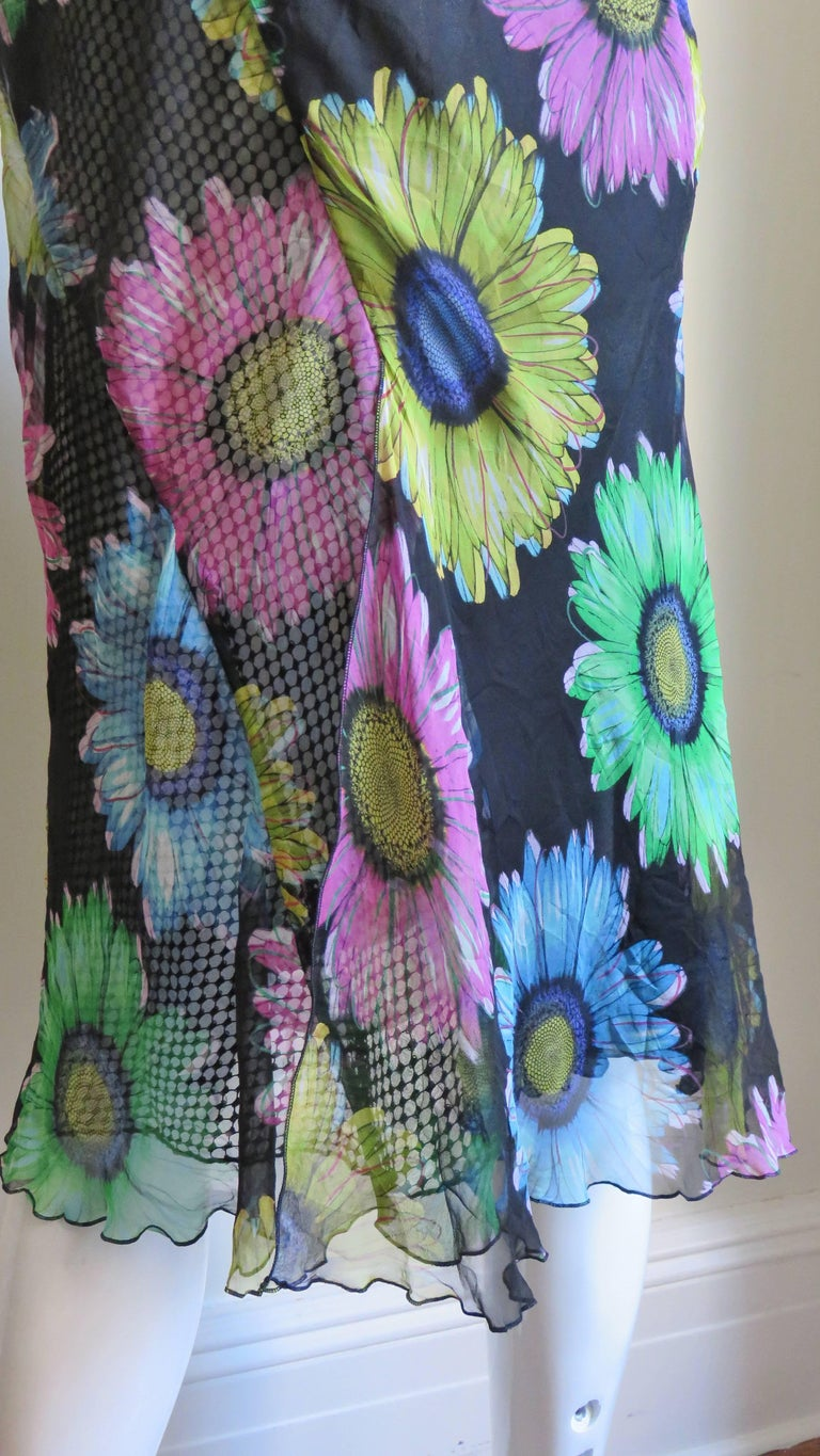 Gianni Versace Silk and Leather Skirt 1990s For Sale 9