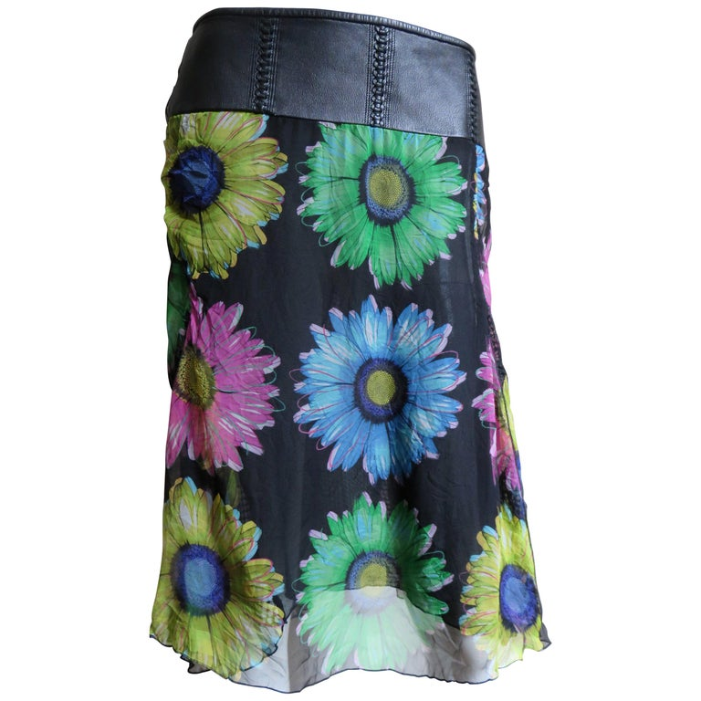 Gianni Versace Silk and Leather Skirt 1990s For Sale