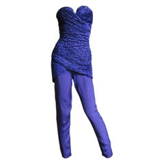 Gianni Versace Silk Bustier Strapless Jumpsuit 1980s