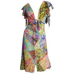 Gianni Versace Silk Patchwork Print Dress