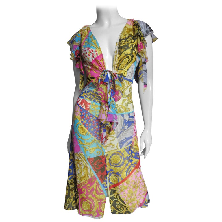 Gianni Versace Silk Print Plunge Dress For Sale
