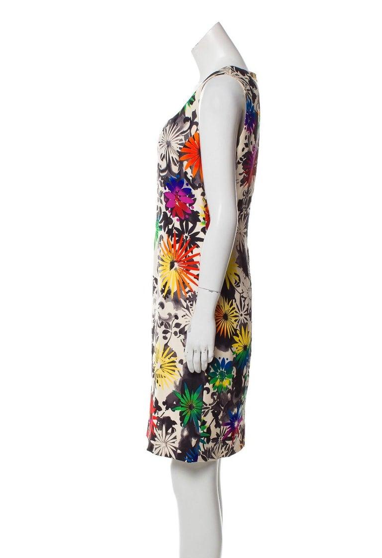 Beige Gianni Versace Silk Printed Dress, 1990s For Sale