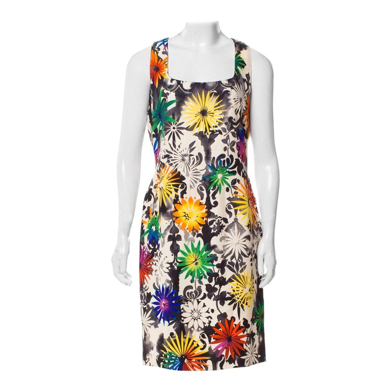 Gianni Versace Silk Printed Dress, 1990s For Sale