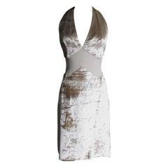 Gianni Versace Silk Sheer Waist Plunge Halter Dress