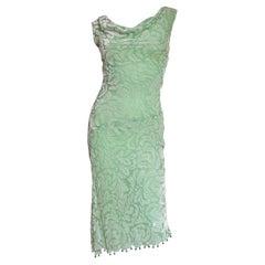 Gianni Versace Silk Velvet Dress with Bead Trim